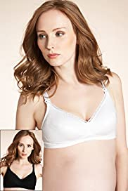 2 Pack Maternity Cotton Rich Non-Wired Spot Nursing B-H Bras