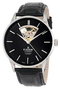 Edox Men's 85010 3N NIN Les Vauberts Automatic Black Dial Watch