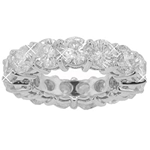 10.33 Ct. TW Round Diamond Eternity Wedding Band in 14 kt Common Prong Size 3.5