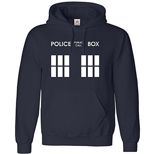 Inspired DOCTOR Police Box felpa con cappuccio in adulto con cappuccio Top tutte le dimensioni, Plus 1t shirt-Star & strisce marchio Navy blue XL