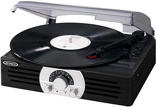 Jensen JTA-222SE 3-Speed Stereo Turntable with AM/FM Stereo Radio - Black/Silver (Turntable Am Fm compare prices)
