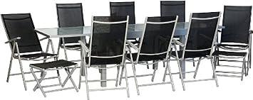 IB-Style - STAR-XXL Gartengarnitur Gartenmöbel Sitzgruppe Garten | Ausziehtisch mit Sicherheitsglas 135-270 cm | Hochlehner mit Nackenkissen | 4 Kombinationen | 19-Teiliges Set