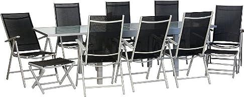 IB-Style–Star–XXL giardino–mobili da giardino gruppo di sedie | tavolo allungabile con vetro di sicurezza 135–270cm | sedia sdraio da giardino con cuscino cervicale | 4com