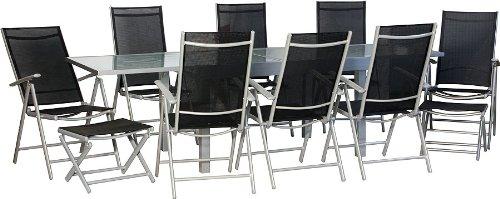 IB-Style-STAR-XXL-Gartengarnitur-Gartenmbel-Sitzgruppe-Garten-Ausziehtisch-mit-Sicherheitsglas-135-270-cm-Hochlehner-mit-Nackenkissen-4-Kombinationen-19-Teiliges-Set