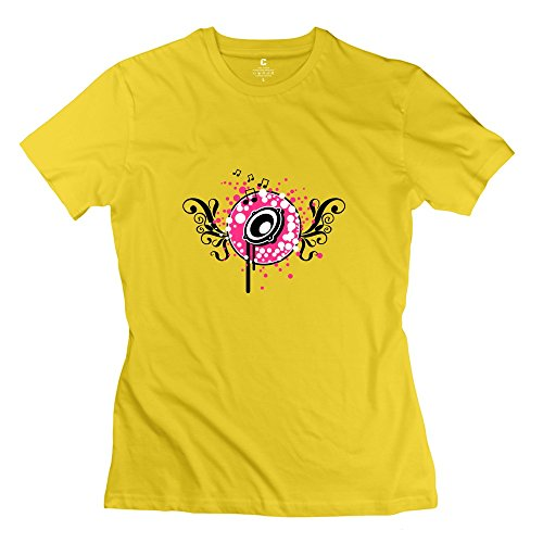 Yellow Short Sleeve Disco Speaker Music T Shirts For Lady