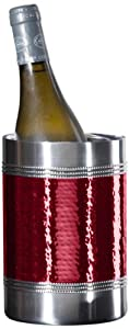 Oggi Hammered Beaded Double Wall Wine Cooler, Red