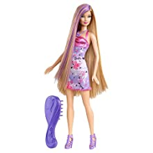 Barbie Hairtastic Purple Dress Blue Hair Doll