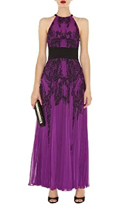 Lace Print Pleated Maxi Dress