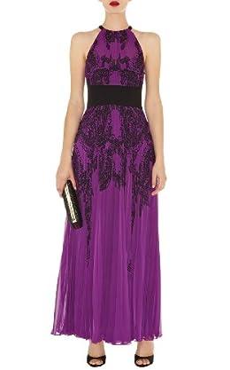 Lace Print Pleated Maxi Dress