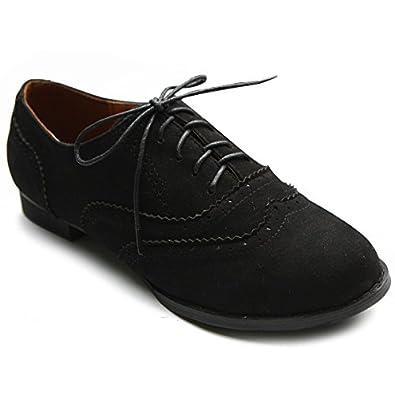 Ollio Women's Shoe Ballet Flat Faux Suede Wingtip Lace Up Oxford(5.5 B(M) US, Black)