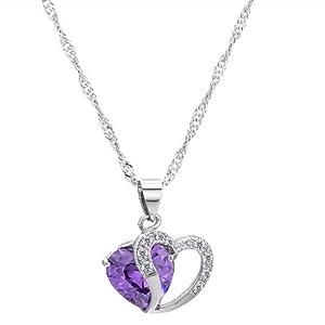 """VIKI LYNN 925 Sterling Silber Lila österreichischen Kristall herzförmige mit 925 Sterling silber Halskette 18 """""""