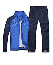 Mens Casual Zipper Long Sleeves Sports Running Athletic Tracksuit Blue XL