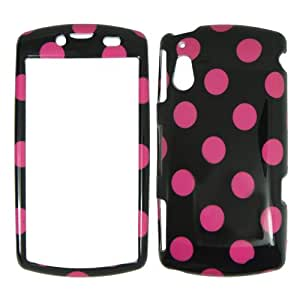 Sony Xperia Play R800i - Big Pink Polka Dots on Black Shinny Gloss Finish Hard Plastic Cover Case Easy Snap On Faceplate.