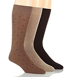 Calvin Klein Men\'s 3 Pack Fashion Geometric Socks, Taupe/Mushroom/Chocolate, 7-12