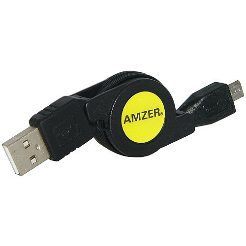 Amzer Micro USB Retractable Data Cable (Black)