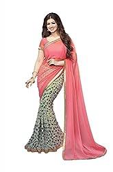 Geet Fashion Solution Georgette Saree (ayesha tiger_Peach)