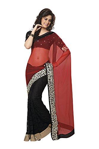 Subhash Sarees Red And Black Net Varanasi Saree