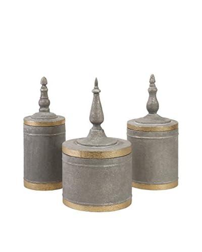 Set of 3 Katrina Metal Lidded Boxes, Silver/Gold