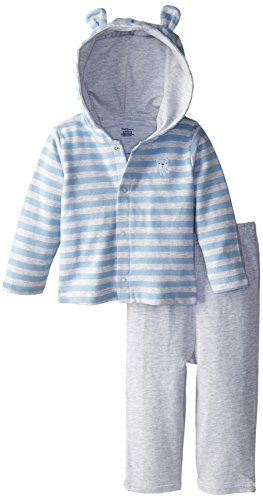 Gerber Baby Boys Newborn Hooded Cardigan And Pant Set, Bear, 24 Months