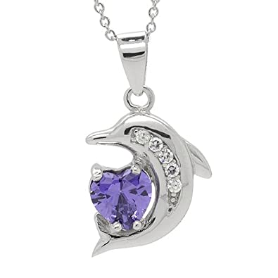 """Sterling Silver Heart CZ Dolphin Pendant Necklace, 18"""""""