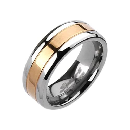 Size 10   Spikes Mens Solid Titanium 8mm Rose Gold IP Center Band Ring