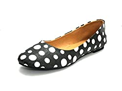 AIZA Womens Black Ballerinas (OF222 POLKA) - UK 6