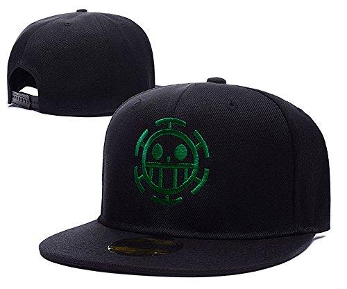 anime-one-piece-trafalgar-law-logo-adjustable-snapback-caps-embroidery-hats-black-green