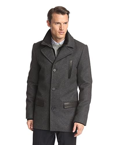 Soia & Kyo Men's Bryce Peacoat with Rib Knit Collar