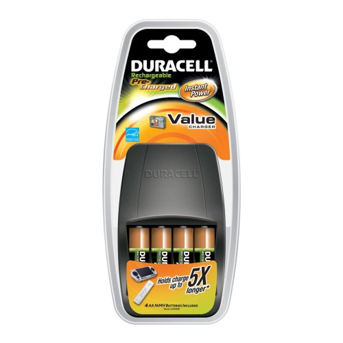 Duracell Value Charger With 4AA Pre Charged Rechargeable Nimh Batteries, CEF14DX4N