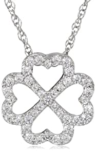 """Platinum Plated Sterling Silver Round Cubic Zirconia Four Leaf Clover Necklace, 18"""""""