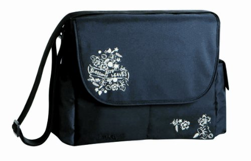 Lassig Marv Messenger Bag Blossoms and Leaves, Black
