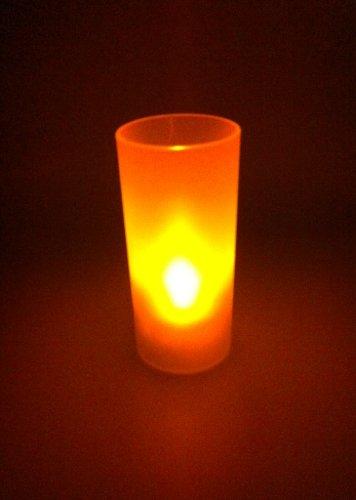 3x LED Kerzen Teelichter mit Licht-Glas ROT flackernd