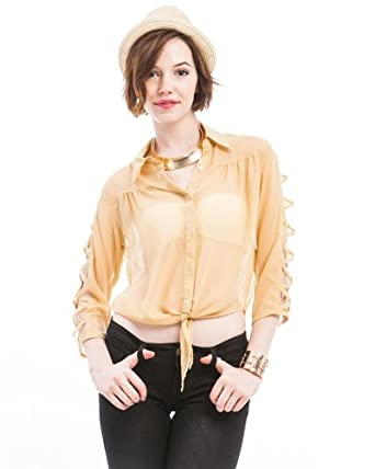 G2 Chic Women's Lattice Woven Shirt(TOP-DSY,BEG-L)
