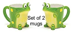Set of 2 Toby Frog 10oz Coffee Mugs/Cups Adorable Frog Cups