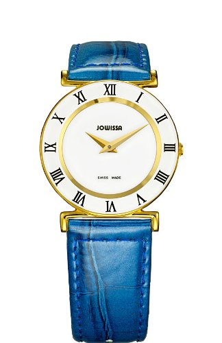 Jowissa Women's J2.102.M Roma Colori 30 mm Gold PVD Blue Leather Roman Numeral Watch