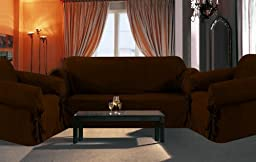 Sofa / Couch Cover Slipcover 3 Pc. Set = Sofa + Loveseat + Chair Covers / Slipcovers 3 Pcs SET Stripe Jacquard Fabric Coffee Brown