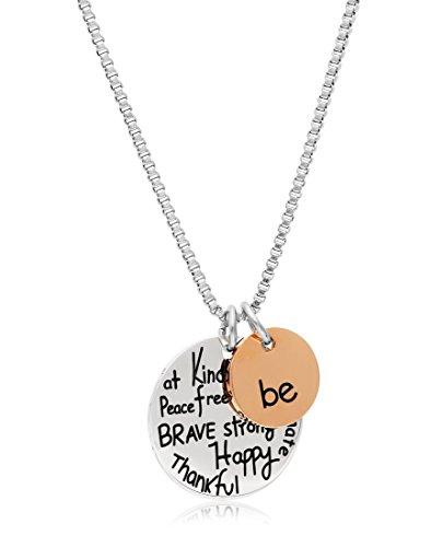 Stainless Steel Two-Tone Charm Necklace with Inspirational Pendant, 18