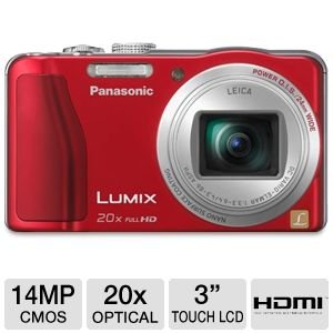 Panasonic Lumix ZS20 14.1 High Sensitivity MOS Digtial Camera with 20x Optical Zoom, Red (DMC-ZS20R)