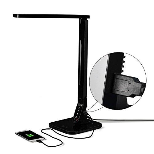 Lampada da Tavolo, TaoTronics Lampada LED ( 14W, 5 livelli Dimmerabili, 4 modalità Pannello di Controllo, Touch-Sensitive, Porta di Ricarica USB per iPhone, iPad, Smartphone, Tablet Android ) - Nero