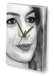 ANNE HATHAWAY - Canvas Clock (LARGE A3 - Signed by the Artist) #js002