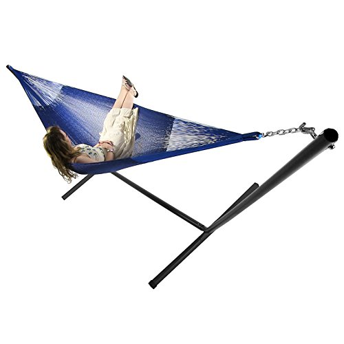 Sunnydaze Blue Mayan Hammock and Black Stand Combo, Double Size, 180 Inch Long x 59 Inch Wide