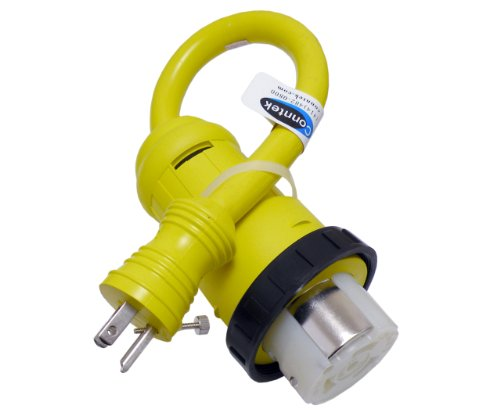 Conntek 14422 RV Pigtail Adapter 15 Amp Male Plug With Screw To 50 Amp 125/250 Volt Locking Female Connector