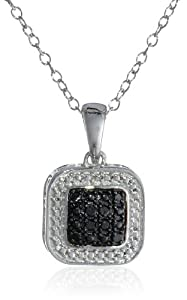"""Sterling Silver Diamond Square Pendant Necklace (0.10 cttw, H-I Color, I1-I2 Clarity), 18"""" from Max Color, LLC"""