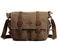 """Kattee Military Canvas Shoulder Messenger Bag Leather Straps Fit 17"""" Laptop from Kattee"""