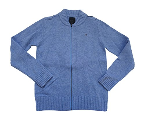 G-Star Raw corretta linea New Costa Vest L/S da uomo Wool Zip Cardigan 86903.2340.1995Maglione lapo blue HTR oxford knit Large