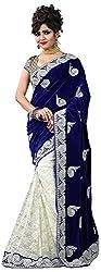 Vaidehi Fashion Women's Velvet Saree (Blue)