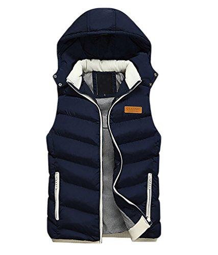 CeRui Moda inverno Da Uomo Imbottito Gilet Giacca Smanicato Gilet Con Cappuccio Taglia XL Blu marino