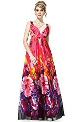 Ever Pretty Empire Line Sexy V-neck Printed Chiffon Formal Dress 09349