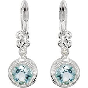 IceCarats Designer Jewelry Sterling Silver Genuine Aquamarine And Diamond Earrings. Pair
