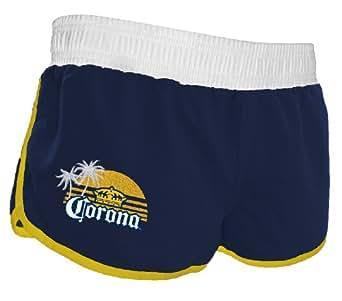 Corona Extra Logo Women's Mini Shorts - Navy Blue / White (Large
